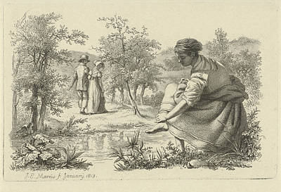 Wash Drawing - Strolling Couple And A Girl Washes Her Feet by Quint Lox