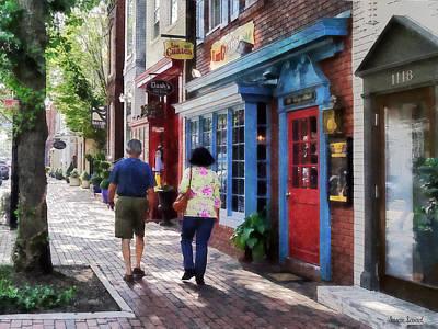 Brick Sidewalks Photograph - Alexandria Va - Strolling Down King Street by Susan Savad