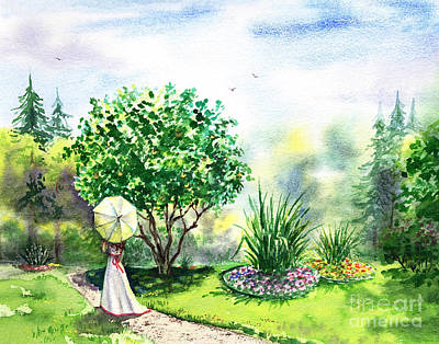 Whit Painting - Strolling In The Garden by Irina Sztukowski