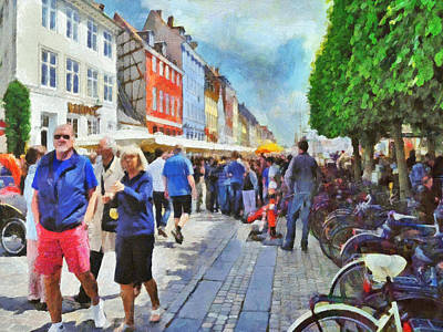 Digital Art - Strolling In The Nyhavn District Of Copenhagen by Digital Photographic Arts