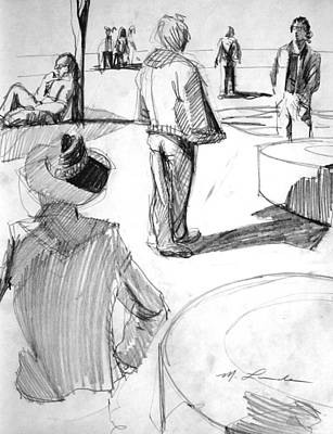 Washington Square Drawing - Strolling In Washington Square Park by Mark Lunde
