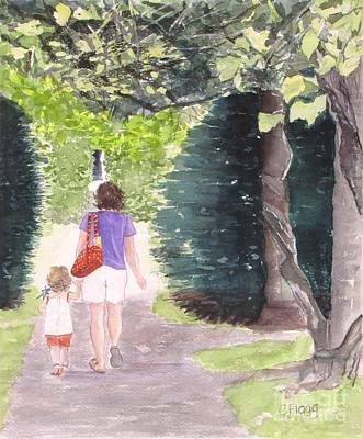 Strolling With Mom Art Print