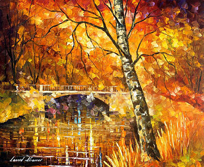 Strong Birch - Palette Knife Oil Painting On Canvas By Leonid Afremov Original by Leonid Afremov