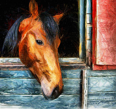 Drawing - Strong Powerful Beautiful - Horse Drawing by Daliana Pacuraru