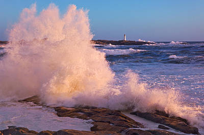 Strong Winds Blow Waves Onto Rocks Print by Thomas Kitchin & Victoria Hurst