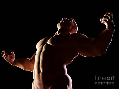 Strongman Hero Showing Muscular Body Art Print by Michal Bednarek