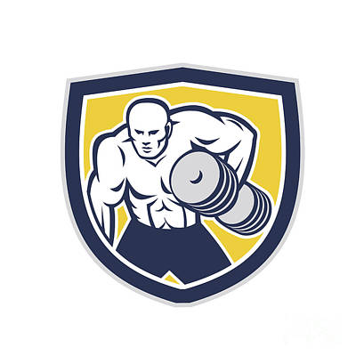 Muscular Digital Art - Strongman Lifting Dumbbells Front Shield Retro by Aloysius Patrimonio