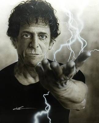 Flower Power Painting - Lou Reed - ' Struck By The Power And The Glory ' by Christian Chapman Art