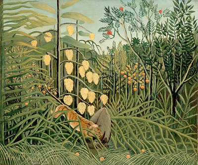Struggle Between Tiger And Bull Print by Henri Rousseau