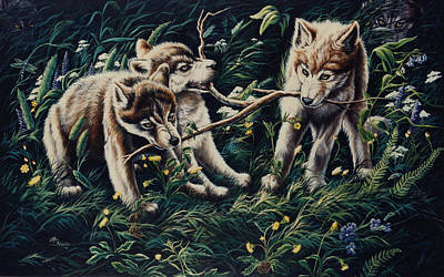 Wolf Pack Painting - Struggle For Dominance by Lori Salisbury