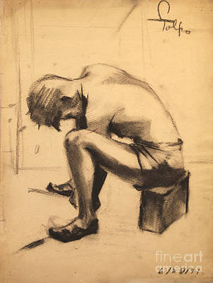 Sweating Drawing - Struggling With The Job - 1941 by Art By Tolpo Collection