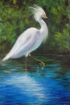 Painting - Strutting Egret by Rich Kuhn