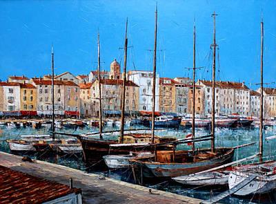 St.tropez Painting - St.tropez  - Port - I -  France by Miroslav Stojkovic - Miro