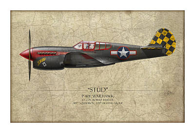 Stud P-40 Warhawk - Map Background Art Print by Craig Tinder