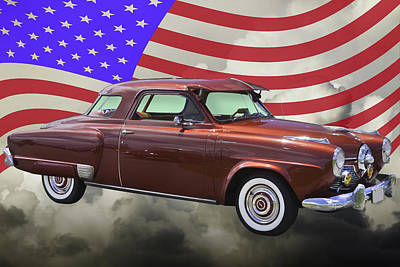 Photograph - Studebaker Champian Antique Car And American Flag by Keith Webber Jr