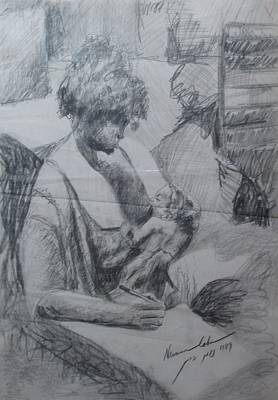 Mother Land Drawing - Student And Mother by Esther Newman-Cohen