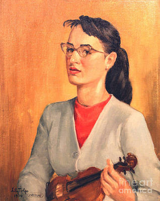 1950s Portraits Painting - Student Of Violin by Art By Tolpo Collection