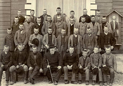 1890s Photograph - Students And Their Headmaster by Underwood Archives