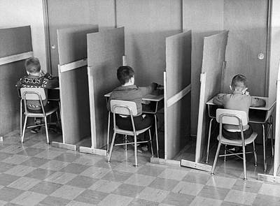 Cubicle Photograph - Students In Cubicles by Underwood Archives