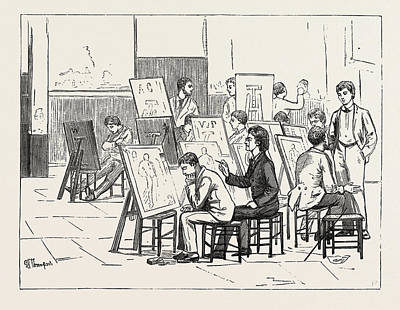 Students Life In A Continental Art School The Antique Room Art Print by English School