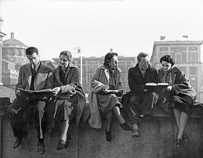 Schools Photograph - Students Study At Columbia by Underwood Archives
