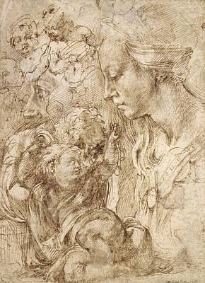 Berlin Germany Painting - Studies For A Holy Family by Michelangelo Buonarroti