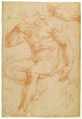 Studies Of A Male Nude, A Drapery, And A Hand Giorgio Vasari Art Print