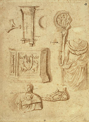 Wash Drawing - Studies Of Antiquities Recto,  Studies Of Antiquities Verso by Litz Collection