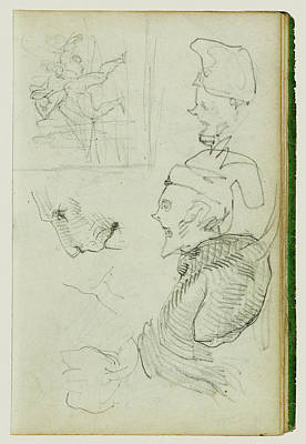 Caricature Drawing - Studies Of Lion, Compositional Group Figure Study by Litz Collection