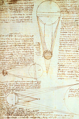 Balloons Drawing - Studies Of The Illumination Of The Moon by Leonardo Da Vinci