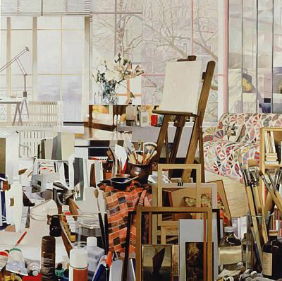 Studio, 1986 Oil On Canvas Art Print by Jeremy Annett