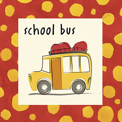 School Bus Painting - Studio by Esteban