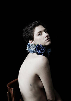Naked Photograph - Studio Lit Portrait Of Androgynous Girl by Felicity Mccabe