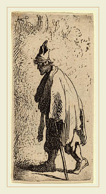 Studio Drawing - Studio Of Rembrandt Van Rijn, Beggar With A Stick by Litz Collection