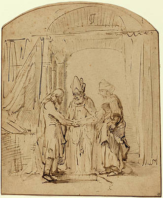 Studio Drawing - Studio Of Rembrandt Van Rijn, The Betrothal Of The Holy by Quint Lox