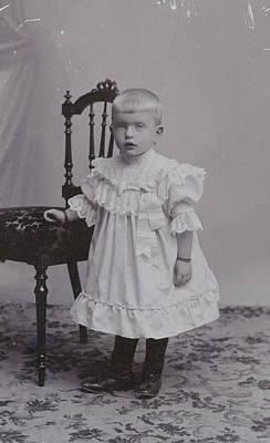Studio Drawing - Studio Portrait Of A Baby In A Chair by Artokoloro