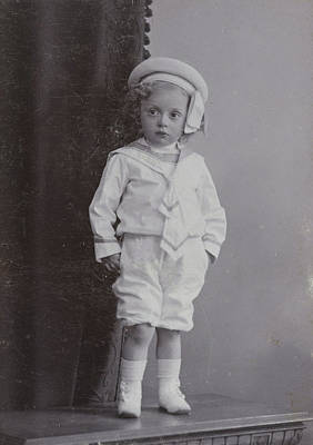 Studio Drawing - Studio Portrait Of A Baby In A White Sailor Suit With Hat by Artokoloro