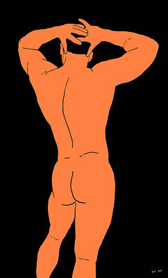 Male Nude Drawing Digital Art - Study 369 by Narusnar Enen
