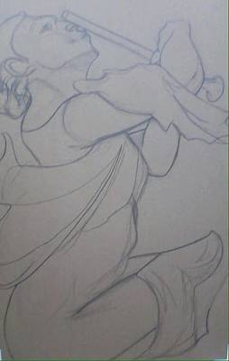 Wall Art - Drawing - Study After Camille Claudel La Petite Sirene by Kerrie B Wrye