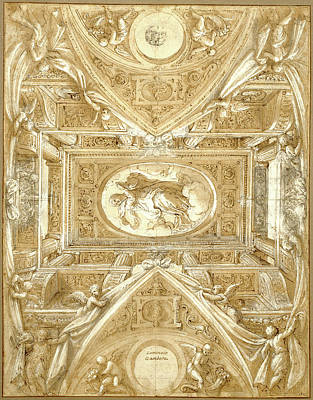 Wash Drawing - Study For A Ceiling Lattanzio Gambara, Italian by Litz Collection