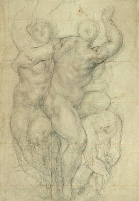Study Of A Nude Drawing - Study For A Group Of Nudes by Jacopo Pontormo