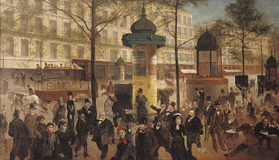 Crowd Scene Photograph - Study For A Panorama Of The Boulevard De Montmartre, 1877 Oil On Canvas by Andre Gill