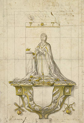 Pedro Drawing - Study For A Statue Of Queen Isabella Pedro Mena Y Medrano by Litz Collection