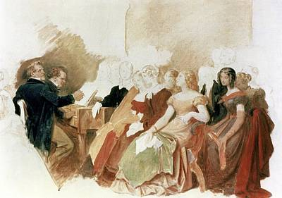 Music Concert Painting - Study For An Evening At Baron Von Spauns Schubert At The Piano Among His Friends by Moritz Ludwig von Schwind