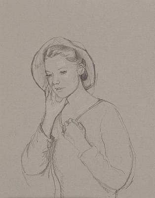 Jane Austen Drawing - Study For Elizabeth Bennet by Caroline Hervey Bathurst