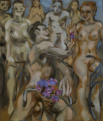 Study For Flowers On The Naked Bike Ride Art Print by Peregrine Roskilly