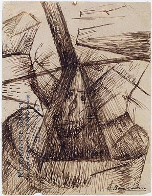 Umberto Drawing - Study For Fusion Of A Head And A Window by Umberto Boccioni