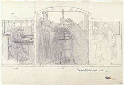 Umberto Boccioni Drawing - Study For Homage To Mother by Umberto Boccioni