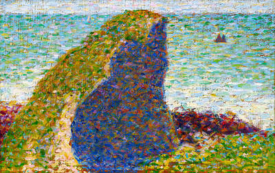 Study For Le Bec Du Hoc Grandcamp Art Print by Georges Seurat
