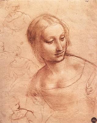 Study For Madonna With The Yarnwinder Art Print by Leonardo da Vinci